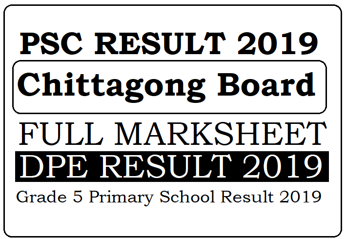 PSC Result 2020 Chittagong Board Grade 5 Result