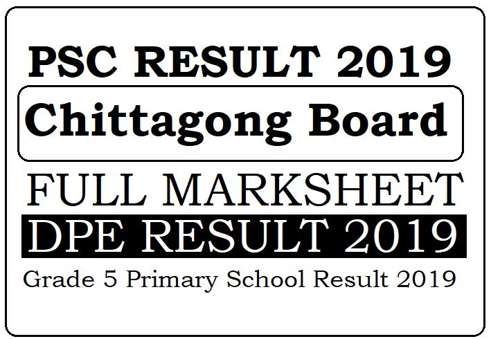 PSC Result 2021 Chittagong Board Grade 5 Result