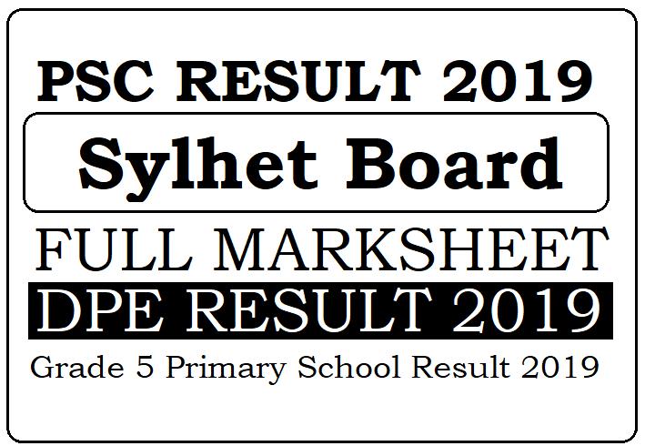 PSC Result 2019 Sylhet Board Grade 5 Result
